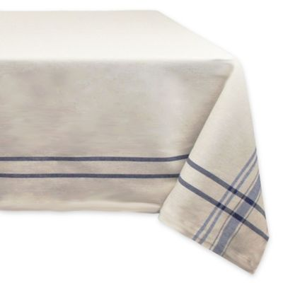 Design Imports French Stripe 60 Inch X 120 Inch Oval Tablecloth In Blue