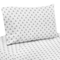 Sweet Jojo Designs Mod Arrow Triangle Print Twin Sheet Set Grey/White