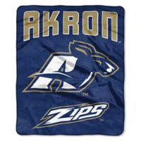 NCAA University of Akron Super Plush Raschel Throw Blanket