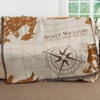Compass Inspired Graduation Woven Throw Blanket