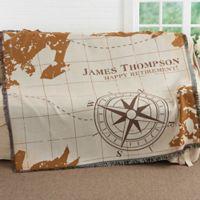 Compass Inspired Retirement Woven Throw Blanket