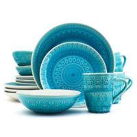 Euro Ceramica Fez 16-Piece Dinnerware Set in Turquoise