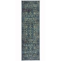Oriental Weavers Linden Floral Geo 2-Foot 3-Inch x 7-Foot 6-Inch Runner in Navy