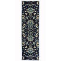 Oriental Weavers Linden Floral 7'6 Indoor/Outdoor Runner in Navy