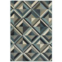 Oriental Weavers Linden Geometric 3'10 x 5'5 Indoor/Outdoor Area Rug in Blue