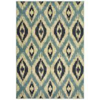 Oriental Weavers Linden Concentric Diamonds 6'7 x 9'6 Indoor/Outdoor Area Rug in Blue