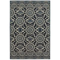 Oriental Weavers Linden Medallions 9'10 x 12'10 Indoor/Outdoor Area Rug in Navy