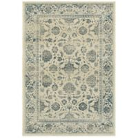Oriental Weavers Linden Floral Border 9'10 x 12'10 Indoor/Outdoor Area Rug in Ivory