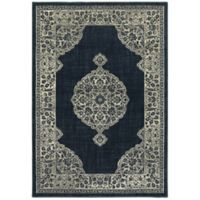 Oriental Weavers Linden Floral Medallion 5'3 x 7'6 Indoor/Outdoor Area Rug in Navy