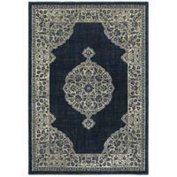 Oriental Weavers Linden Floral Medallion 6'7 x 9'6 Indoor/Outdoor Area Rug in Navy