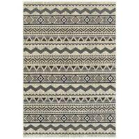 Oriental Weavers Linden Chevrons 5-Foot 3-Inch x 7-Foot 6-Inch Indoor/Outdoor Area Rug in Grey