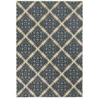 Oriental Weavers Linden Diamond 7'10 x 10'10 Indoor/Outdoor Area Rug in Ivory