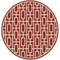 Cabana Bay Seaside Geometric Trellis 7-Foot 10-Inch Round Indoor/Outdoor Area Rug in Red