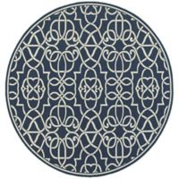 Cabana Bay Seaside Ornate Trellis 7-Foot 10-Inch Round Indoor/Outdoor Area Rug in Navy