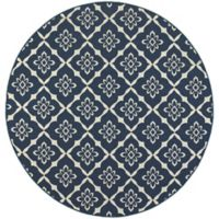 Cabana Bay Seaside Floral Geometric 7-Foot 10-Inch Round Indoor/Outdoor Area Rug in Navy