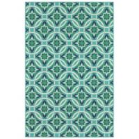 Cabana Bay Seaside Medallions 3'7 x 5'6 Indoor/Outdoor Area Rug in Blue