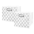 Market Village Trellis Collapsible 12-Inch Storage Cube (Set of 2) in Silver