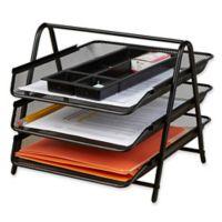 Mind Reader 3-Tier Mesh Paper Tray Desk Organizer in Black