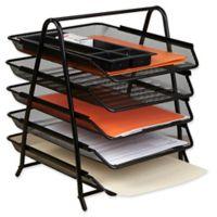 Mind Reader 5-Tier Mesh Paper Tray Desk Organizer in Black