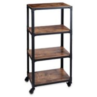 Mind Reader Charm 4-Shelf Utility Cart in Black/Wood