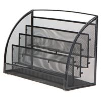 Mind Reader Mesh 4-Pocket Magazine Rack in Black