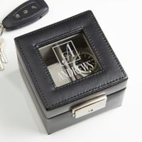 Square Monogram Engraved Leather 2-Slot Watch Box in Black
