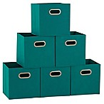 Household Essentials® Collapsible Fabric Storage Bins in Aqua (Set of 6)
