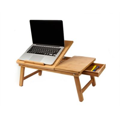 Mind Reader Adjustable Bamboo Laptop Bed Tray In Brown