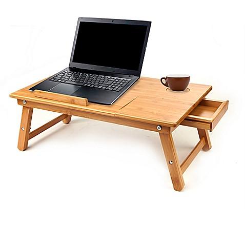 Mind Reader Cooling Adjustable Bamboo Laptop Bed Tray