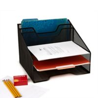 Mind Reader 5-Compartment Mesh Desk Organizer in Black
