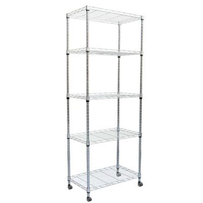 Mind Reader 4 Tier Metal Storage Rack With Wheels In Silver