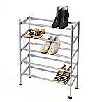 Seville Classics 5-Tier Expandable/Adjustable Shoe Rack in Silver