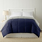 Pacific Coast® Textiles Down Alternative Reversible Queen Comforter in Navy/Silver