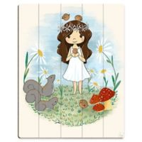 """Astra Art """"Girl with Birds"""" 11-Inch x 14-Inch Wood Wall Art"""