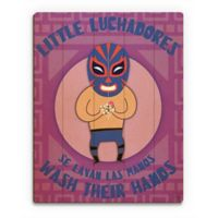 "Astra Art ""Little Luchadores Wash"" 11-Inch x 14-Inch Wood Wall Art"