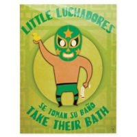 "Astra Art ""Little Luchadores Bath"" 11-Inch x 14-Inch Acrylic Wall Art"