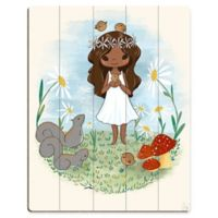 """Astra Art """"Girl with Squirrels"""" 11-Inch x 14-Inch Wood Wall Art"""