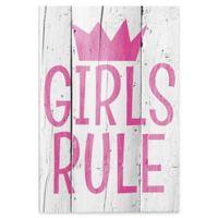 """Astra Art """"Girls Rule"""" 20-Inch x 24-Inch Canvas Wall Art"""
