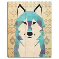 "Astra Art ""Geometric Wolf"" 11-Inch x 14-Inch Wood Wall Art"