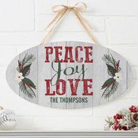 Peace, Joy, Love Oval Wooden Sign