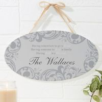 Family Blessings Oval Wood Sign