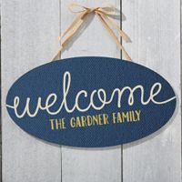 Home Greetings Oval Wood Sign