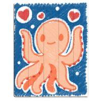 Astra Art Cute Crayon Octopus 14-Inch x 11-Inch Wood Wall Art