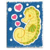 Astra Art Cute Crayon Seahorse 14-Inch x 11-Inch Wood Wall Art