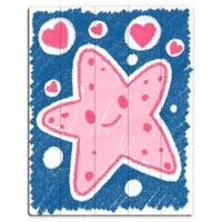 Astra Art Cute Crayon Starfish 11-Inch x 14-Inch Wood Wall Art