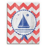 Astra Art Blue Ship 11-Inch x 14-Inch Wood Wall Art