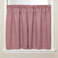 Gingham Burgundy 36-Inch Kitchen Window Tier Pair