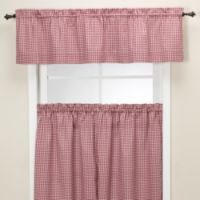 Gingham Tailored Valance in Burgundy