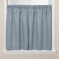 Gingham Blue Kitchen 24-Inch Window Tier Pair