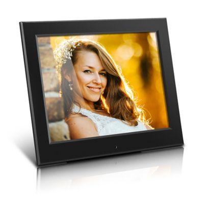 aluratek 8 inch slim slideshow digital photo frame in black - Electronic Frames